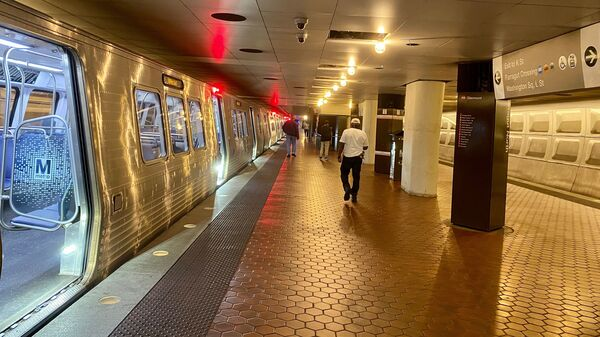 An almost empty Metro station is seen in Washington, D.C., on July 21. The region