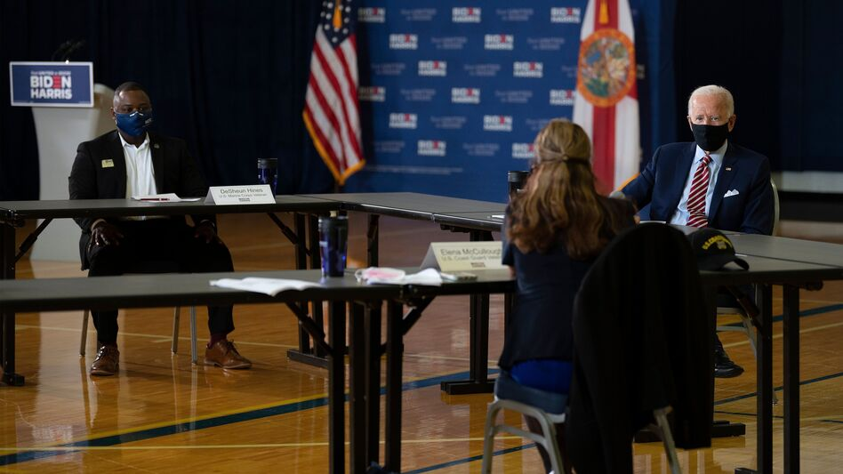 Democratic presidential nominee Joe Biden speaks in Tampa, Fla., on Tuesday during a roundtable discussion with veterans and military families.