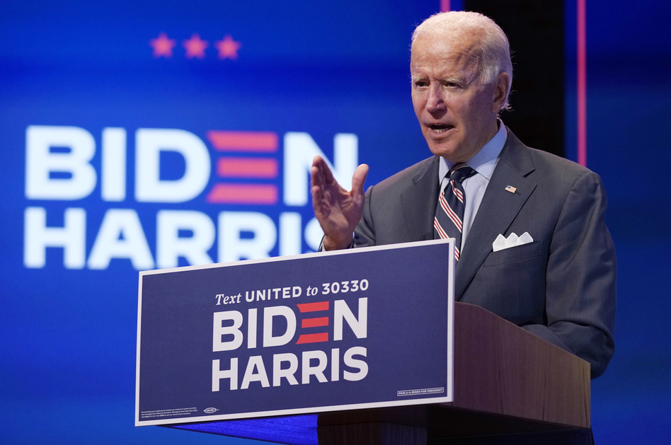Democratic presidential nominee Joe Biden speaks about coronavirus vaccines after a briefing with public health experts in Wilmington, Del., on Wednesday. (Patrick Semansky/AP)
