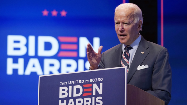 Democratic presidential nominee Joe Biden speaks about coronavirus vaccines after a briefing with public health experts in Wilmington, Del., on Wednesday.