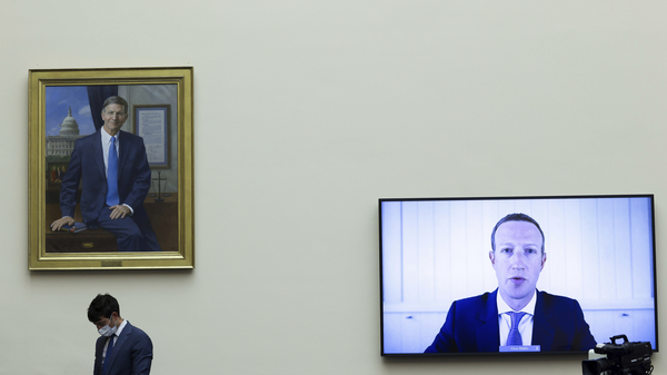 Facebook CEO Mark Zuckerberg speaks via video conference during a House Judiciary subcommittee hearing on antitrust on Capitol Hill in July.