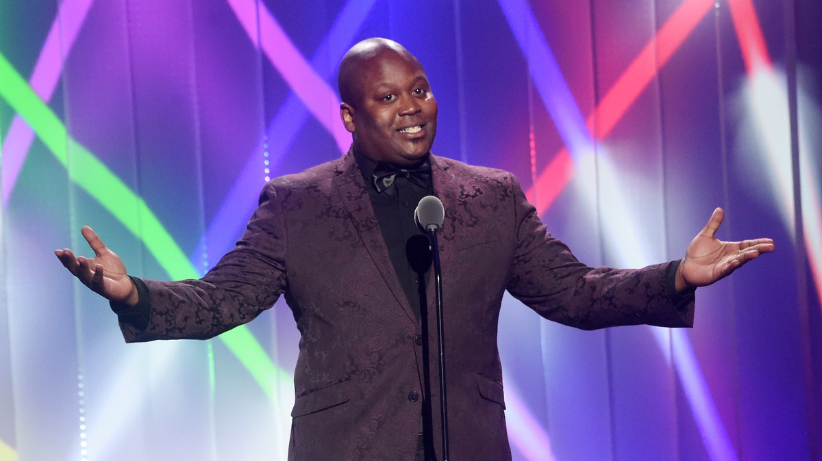 Tituss Burgess speaks at Cathedral of St. John the Divine on June 22, 2017, in New York City.