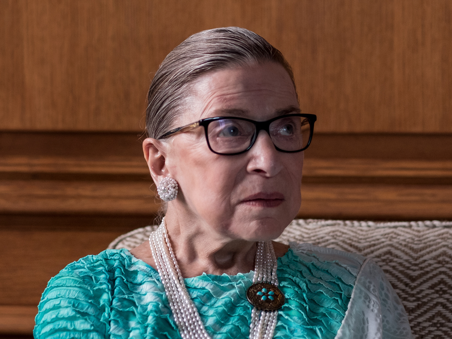 Supreme Court Justice Ruth Bader Ginsburg — here in her chambers during a 2016 interview with NPR's Nina Totenberg — died on Friday at the age of 87.