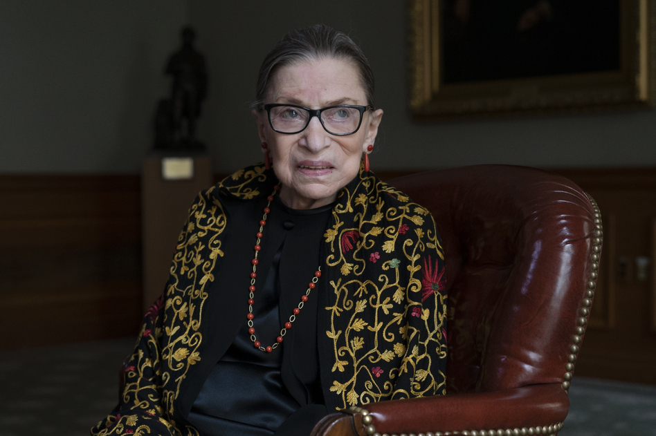 Supreme Court Justice Ruth Bader Ginsburg — here in her chambers during a 2019 interview with NPR's Nina Totenberg — died on Friday at the age of 87.