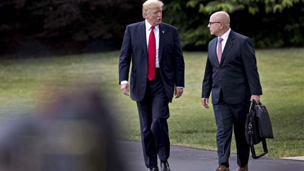 President Donald Trump, left, and H.R. McMaster, now former national security advisor, walk toward Marine One on the South Lawn of the White House in Washington, D.C., on June 16, 2017.