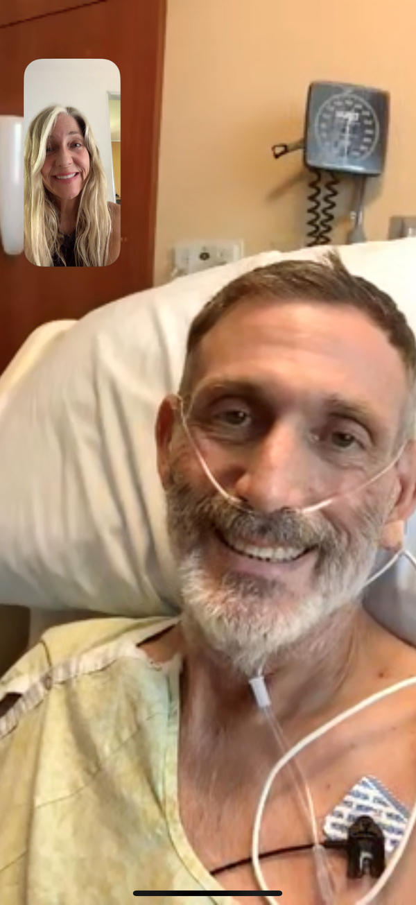 Don Ramsayer and his sister Melanie Ramsayer speak over FaceTime on August 30. He'd been off the ventilator for 10 days and was finally recovered enough from COVID-19 to be moved out of the ICU.