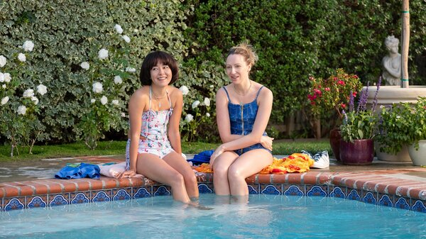 Maya (Maya Erskine) and Anna (Anna Konkle) survive a pool party and a lot of other challenges in the second season of Hulu's PEN15.