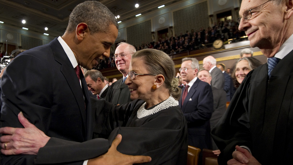 President Barack Obama greets Supreme Court Justice Ruth Bader Ginsburg prior to his 2012 State of the Union address.