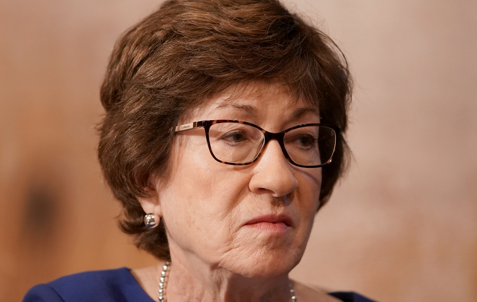 Republican Sen. Susan Collins' 2018 vote in favor of President Trump's second Supreme Court nominee, Brett Kavanaugh, has been a notable issue for Maine voters. (Greg Nash/The Hill/Bloomberg via Getty Images)