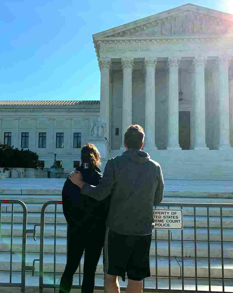 Democratic vice presidential candidate Kamala Harris and her husband, Douglas Emhoff, stop at the Supreme Court on Sept. 19.