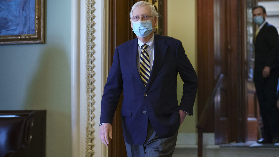 Senate Majority Leader Mitch McConnell, R-Ky., leaves the chamber Monday after speaking about the death of Justice Ruth Bader Ginsburg. McConnell made the case on the Senate floor that voters elected a GOP majority to confirm judicial nominees. (J. Scott Applewhite/AP)