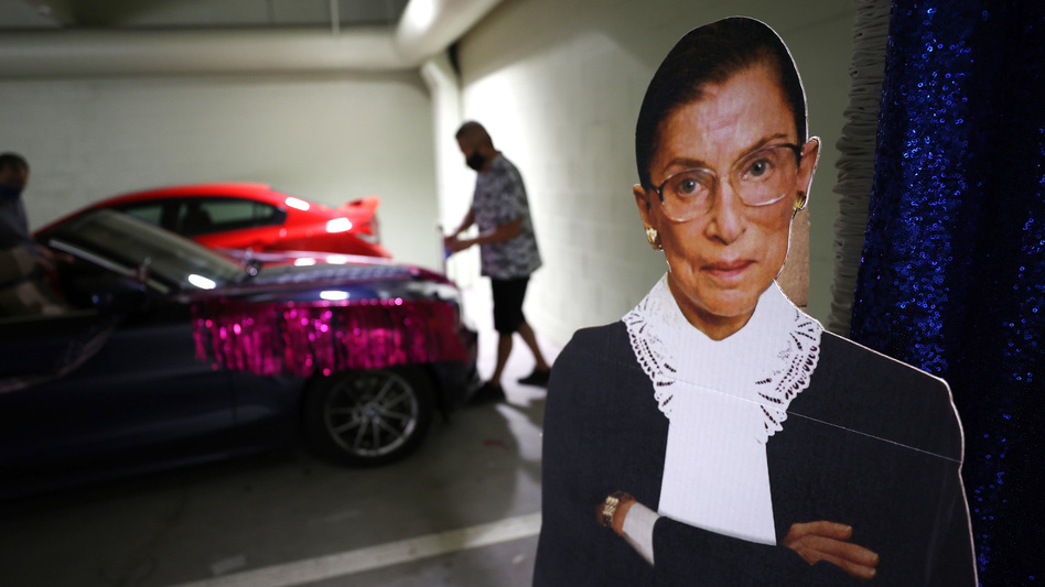 A cardboard cutout of Justice Ruth Bader Ginsburg. The late Supreme Court justice was also a pop culture phenomenon. (Justin Sullivan/Getty Images)