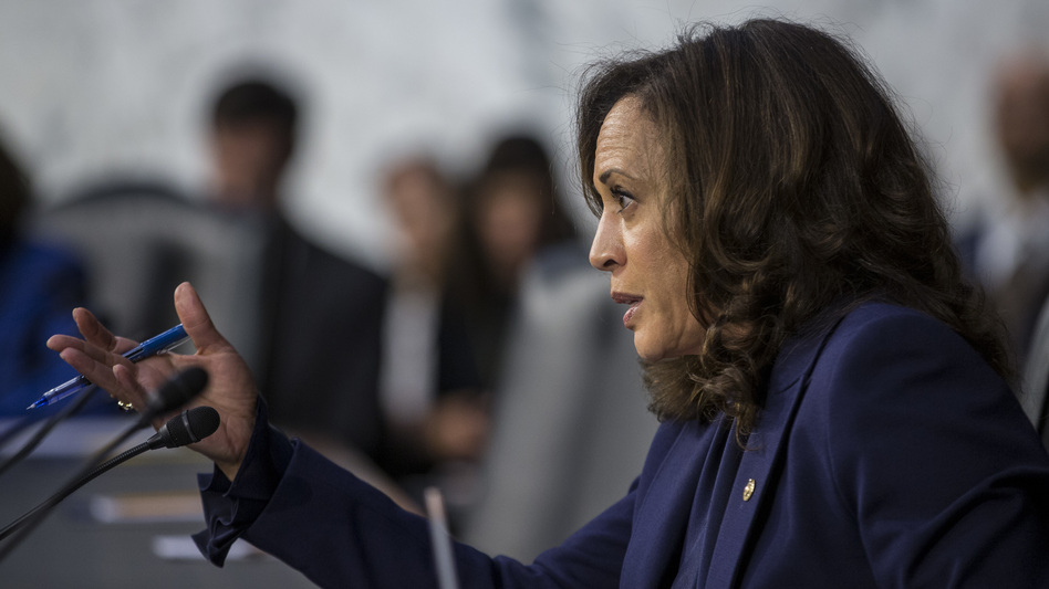 Sen. Kamala Harris, D-Calif., questions Supreme Court nominee Brett Kavanaugh during his 2018 confirmation hearing on Capitol Hill. That took place in the run-up to her presidential bid. Now, she'll face the spotlight as her party's vice presidential nominee. (Zach Gibson/Getty Images)