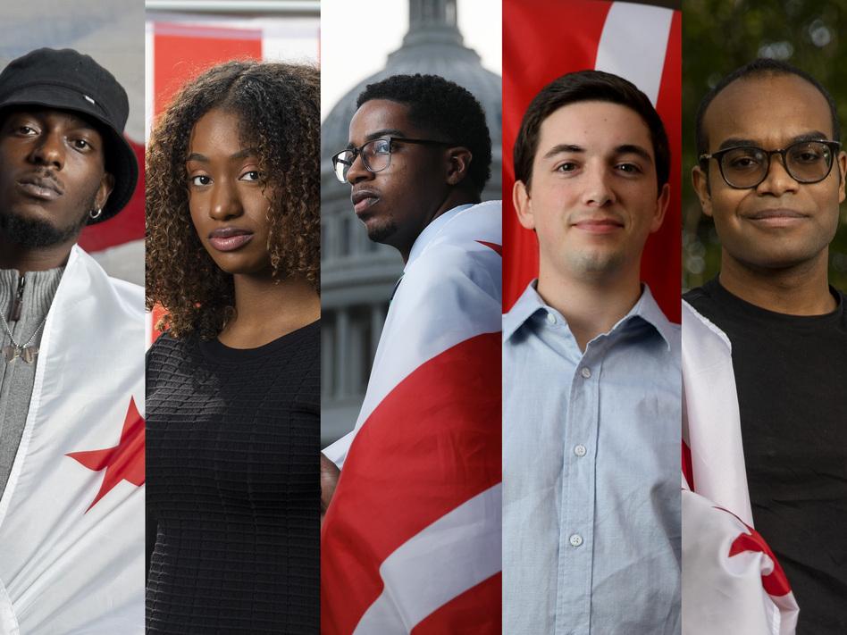 Leaders of the new generation of D.C.'s statehood movement: Ty Hobson-Powell, 25; Demi Stratmon, 22; Jamal Holtz, 22; Noah Wills, 24; and Jamari O'Neal, 21. (Tyrone Turner/WAMU)