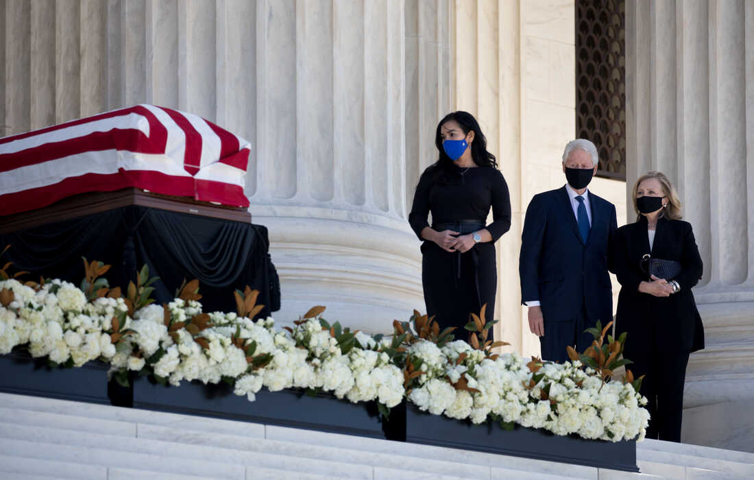 Former President Bill Clinton and former Secretary of State and Senator Hillary Clinton pay their respects to the late Associate Justice Ruth Bader Ginsburg.