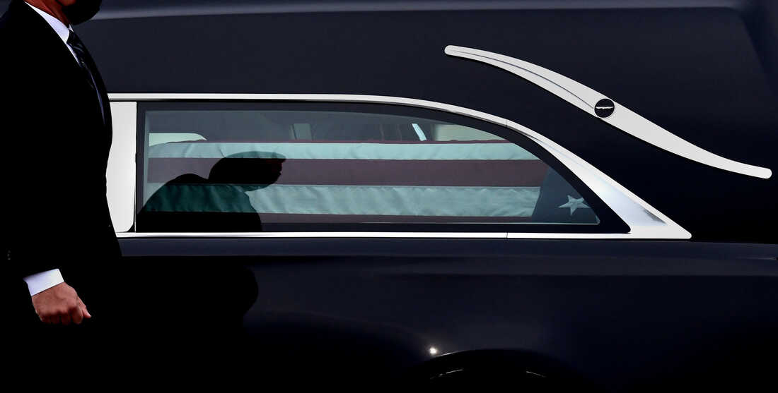 Justice Ruth Bader Ginsburg arrives to lie in state at the U.S. Capitol.