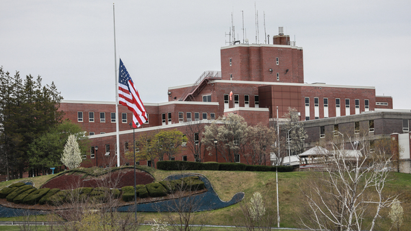 An American flag flew at half-mast at the Holyoke Soldiers