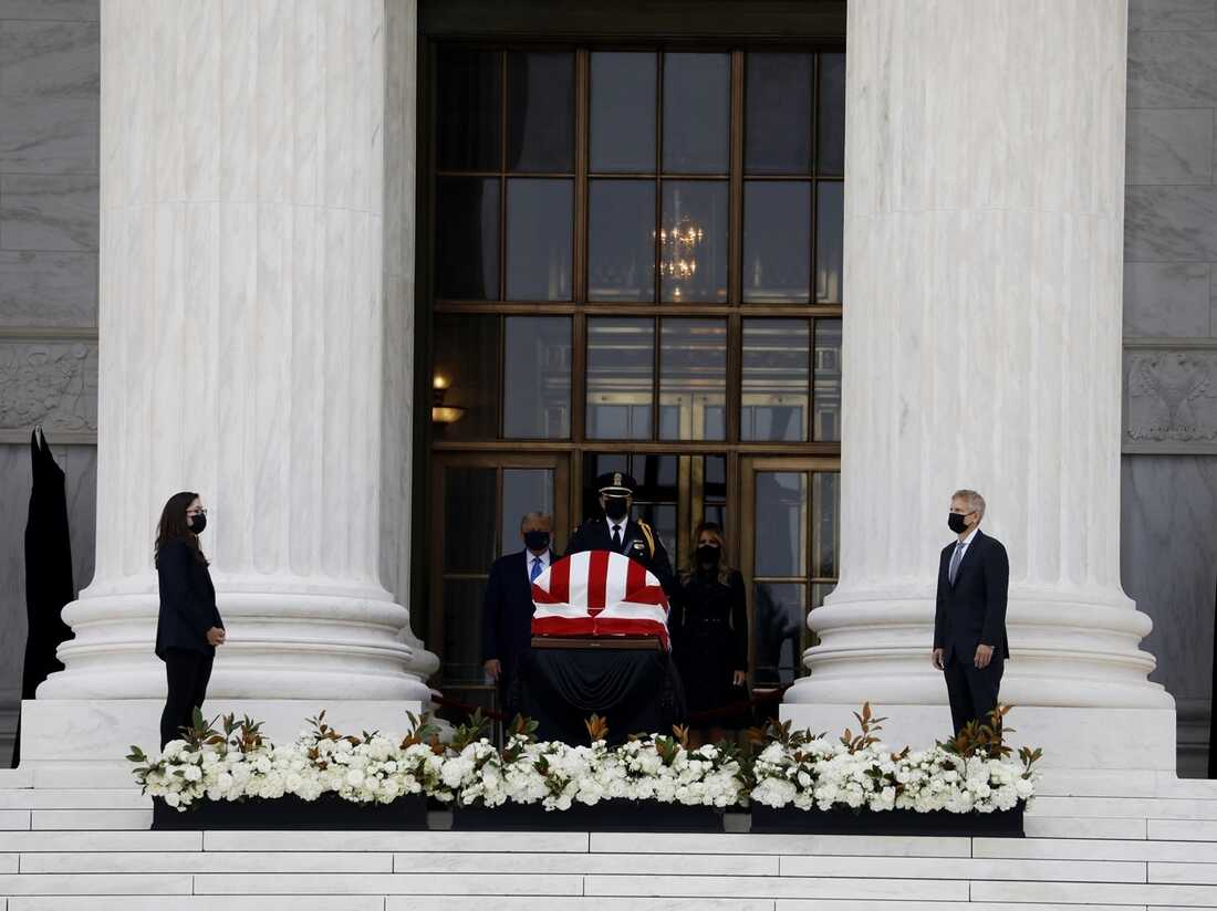 President Donald Trump and First Lady Melania pay their respects for Associate Justice Ruth Bader Ginsburg.