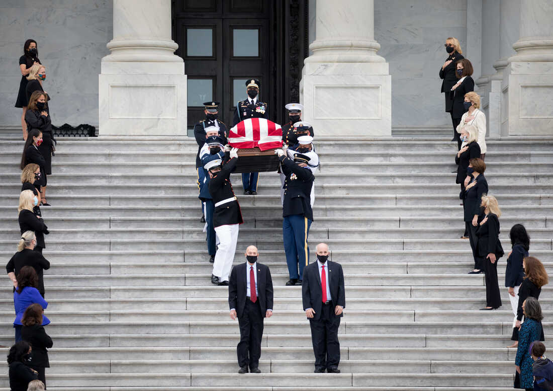 Female Democratic senators and congresswomen including House Speaker Nancy Pelosi as well as Senate Minority Leader Chuck Schumer lined up to bid farewell to the late Supreme Court Associate Justice Ruth Bader Ginsburg whose body lay in state at the U.S. Capitol for two hours in Washington, D.C., on Sept. 25, 2020.