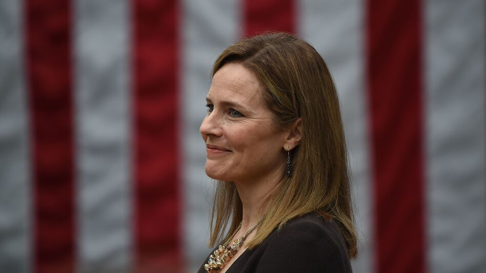 Judge Amy Coney Barrett, pictured at the White House on Saturday, is President Trump's nominee for the Supreme Court. (Olivier Douliery/AFP via Getty Images)