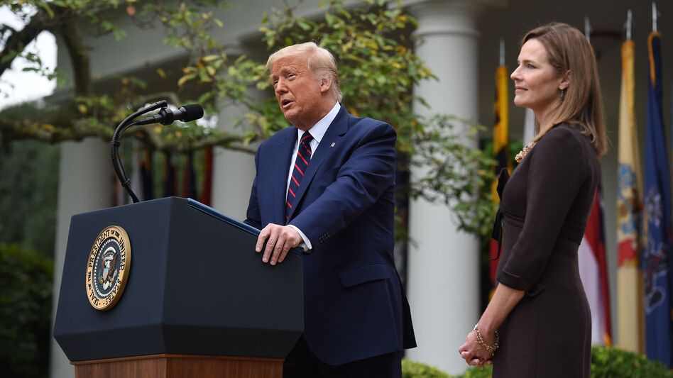 President Trump announces his Supreme Court nominee, Judge Amy Coney Barrett, in the Rose Garden of the White House on Saturday. (Olivier Douliery/AFP via Getty Images)