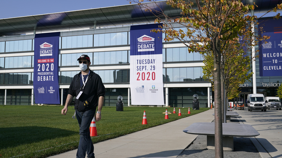 Preparations take place on Sunday outside the Sheila and Eric Samson Pavilion in Cleveland ahead of the first presidential debate, scheduled for Tuesday. (Patrick Semansky/AP)