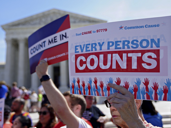 Demonstrators hold signs about the 2020 census outside the U.S. Supreme Court in 2019.