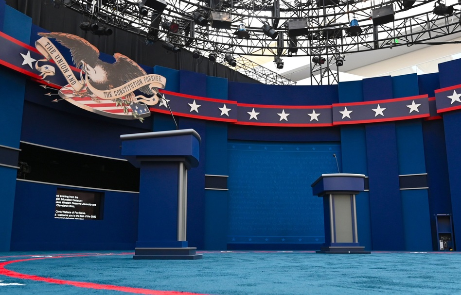 The stage of the first presidential debate, in Cleveland. Tuesday's debate between President Trump and Democratic nominee Joe Biden will be the first of three 90-minute debates between the two. (Eric Baradat/AFP via Getty Images)