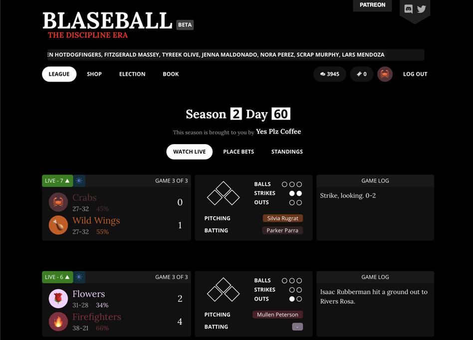 A screenshot of Blaseball's interactive story.