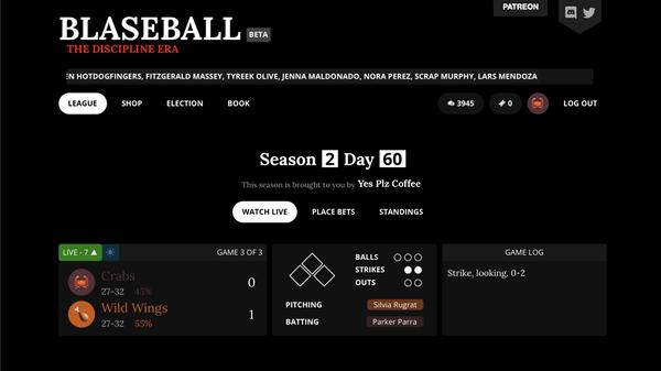 A screenshot of Blaseball