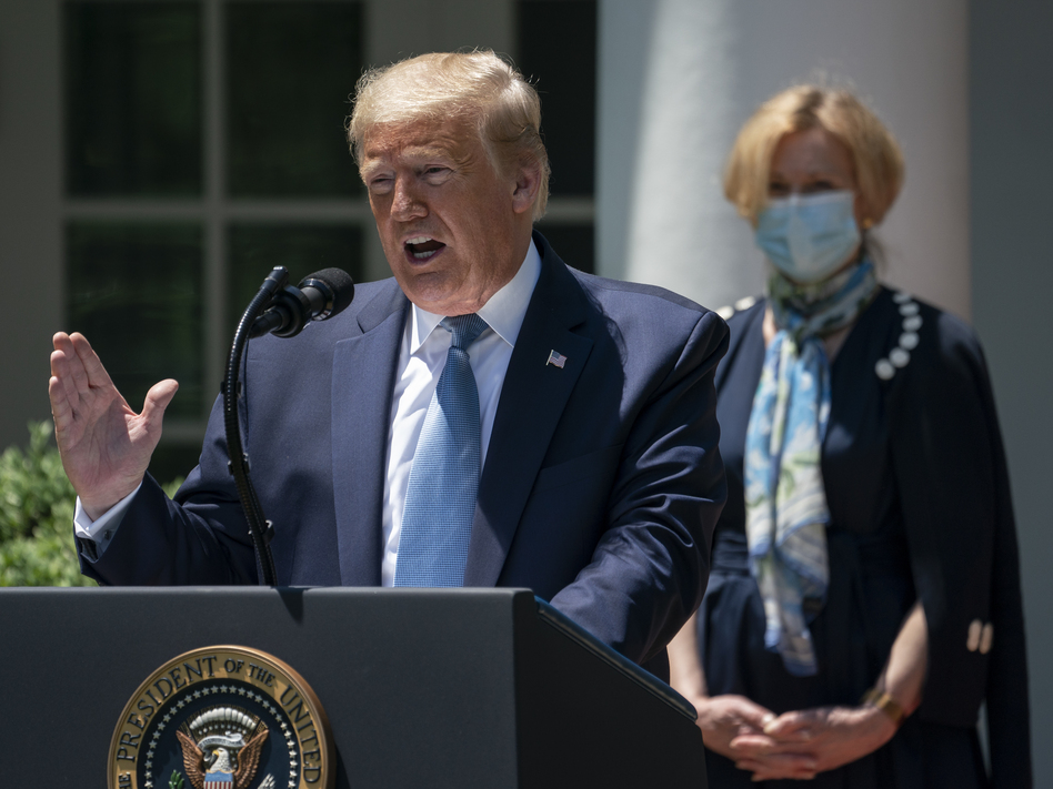 """President Trump announced the creation of Operation Warp Speed in May to fast-track a coronavirus vaccine. He called it """"a massive scientific and industrial, logistic endeavor unlike anything our country has seen since the Manhattan Project."""" (Drew Angerer/Getty Images)"""
