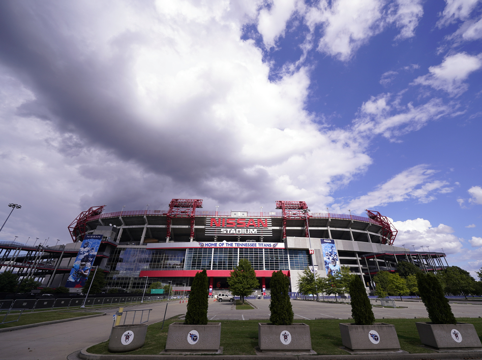 Nissan Stadium, home of the Tennessee Titans, is shown on Tuesday in Nashville, Tenn. The Titans' game against the Pittsburgh Steelers, which had been scheduled for Sunday, has been delayed. (Mark Humphrey/AP)