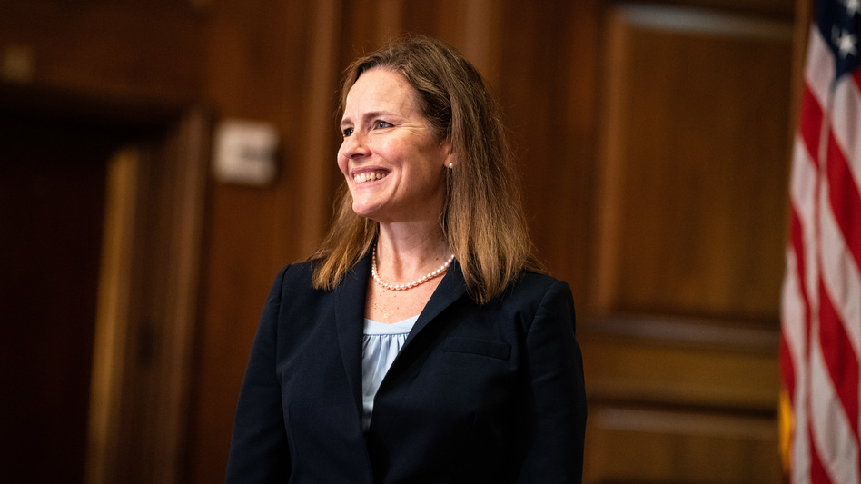 Judge Amy Coney Barrett, President Trump's nominee for the Supreme Court, is meeting with senators this week ahead of her confirmation hearing, which is set to start on Oct. 12. (Anna Moneymaker/Pool/AFP via Getty Images)