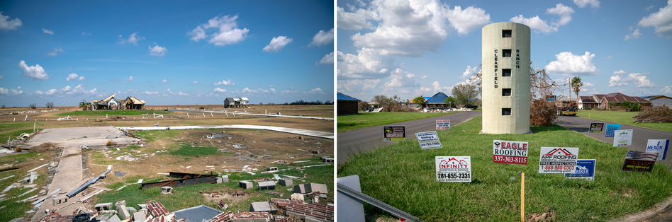 Southwest Louisiana was badly damaged by Hurricane Laura. In Cameron Parish (left), a 17-foot storm surge carried entire houses away. Farther inland, wind-driven rain destroyed roofs and filled homes with water and debris.