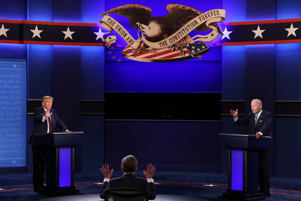 Trump and Democratic presidential nominee Joe Biden participate in the first presidential debate moderated by Fox News anchor Chris Wallace in Cleveland on Tuesday.