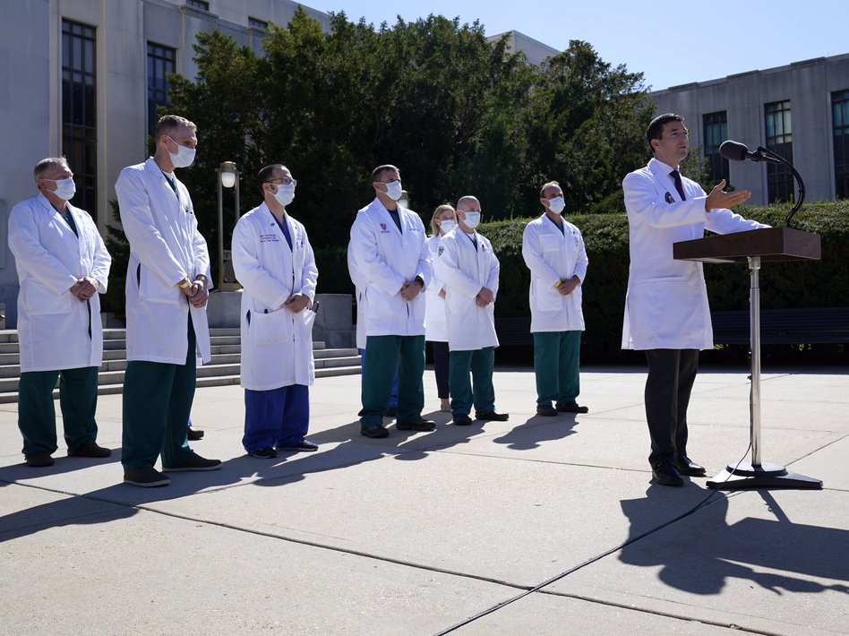 Dr. Sean Conley, physician to President Trump, briefs reporters at Walter Reed National Military Medical Center. (Susan Walsh/AP)
