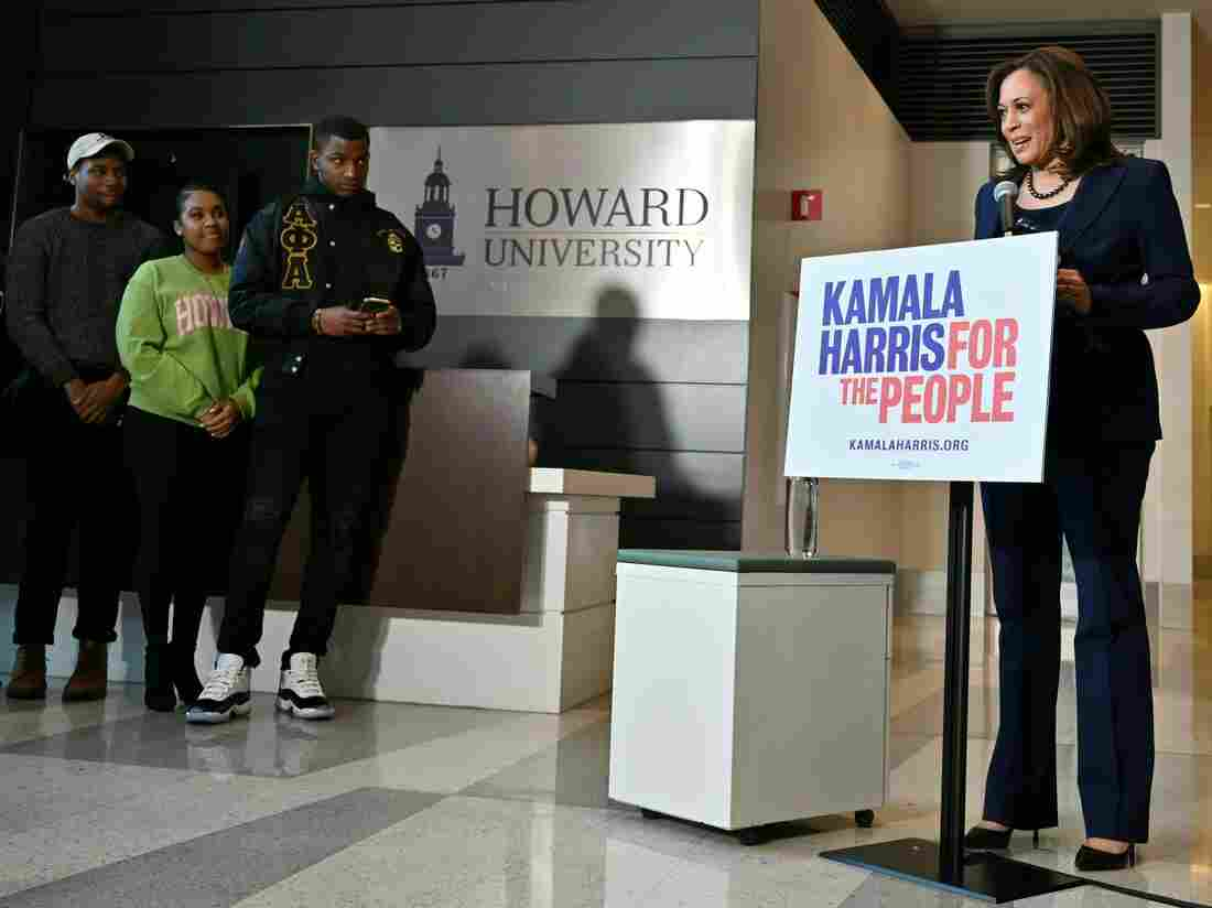 Sen. Kamala Harris, D-Calif., addresses the media on Jan. 21, 2019, at Howard University in Washington, D.C., after announcing earlier in the day that she is seeking to become the first African American woman to hold the office of U.S. president.