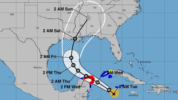 Hurricane Delta will pass over part of the Yucatan peninsula before heading toward the Gulf Coast, where it