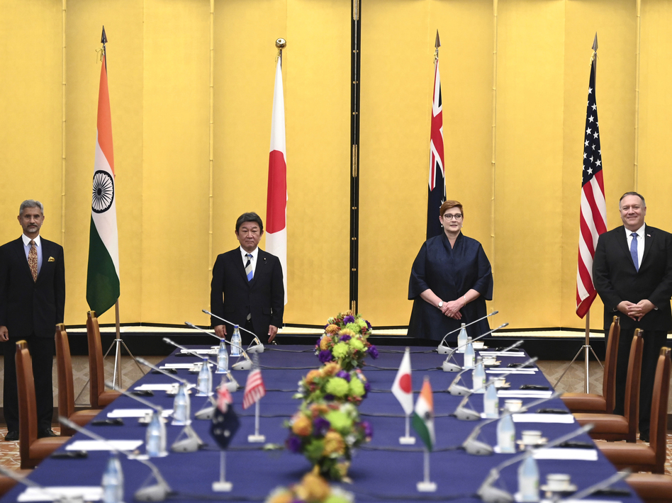 Indian Minister of External Affairs Subrahmanyam Jaishankar (from left), Japanese Foreign Minister Toshimitsu Motegi, Australian Foreign Minister Marise Payne and Secretary of State Mike Pompeo attend a meeting Tuesday in Tokyo. (Charly Triballeau/Pool via AP)