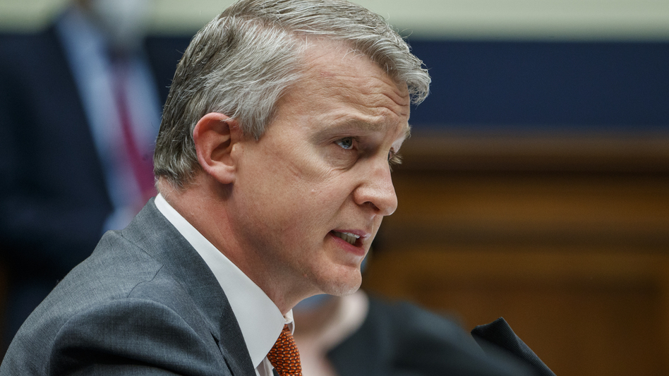 Rick Bright, former director of the Biomedical Advanced Research and Development Authority, testifies to a House subcommittee hearing in May about the government response to the coronavirus. (Bloomberg via Getty Images)