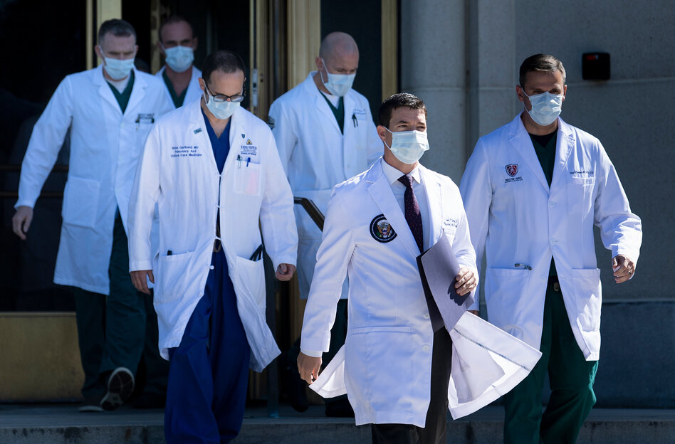 President Trump's team of medical specialists overseeing his care at Walter Reed National Military Medical center. He will still have access to round-the-clock care from the White House medical staff. (Brendan Smialowski /AFP via Getty Images)