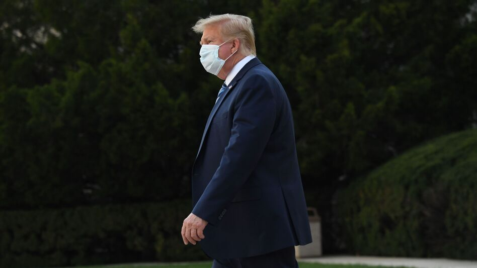 President Trump leaves Walter Reed National Military Medical Center in Bethesda, Md., on Monday. He announced Tuesday he was pausing negotiations on a coronavirus relief package. (Saul Loeb/AFP via Getty Images)