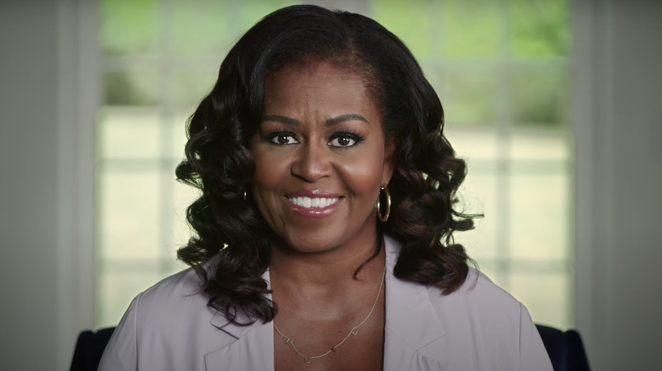 "President Trump ""continues to gaslight the American people by acting like this pandemic is not a real threat,"" Michelle Obama says in video remarks. (Screenshot from the Biden campaign/YouTube)"