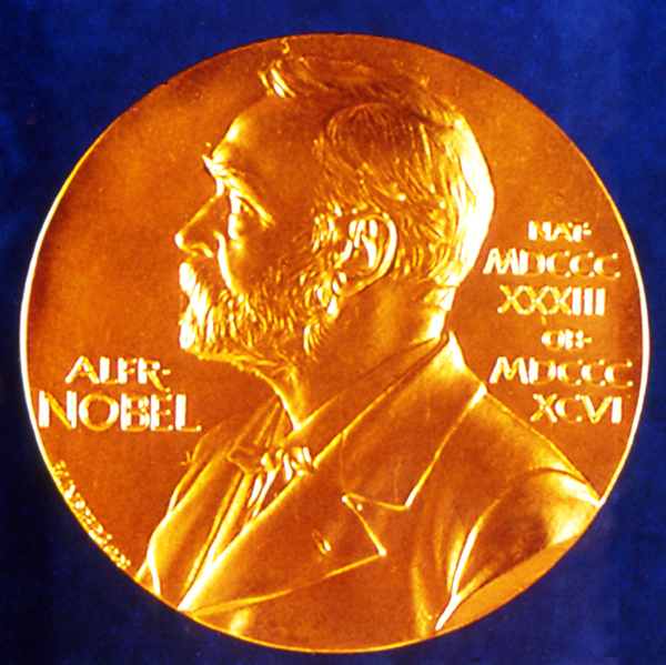The Nobel Prize gold medal, awarded to each laureate.