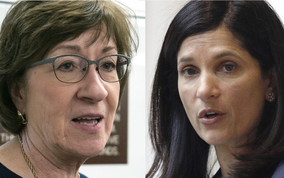 Republican U.S. Sen. Susan Collins (left) of Maine faces a tough challenge from Democratic Maine House Speaker Sara Gideon. (Robert F. Bukaty/AP)