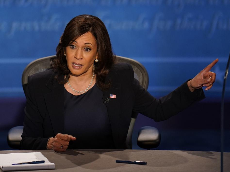 Democratic vice presidential candidate Sen. Kamala Harris responds to Vice President Pence during Wednesday's debate in Salt Lake City. (Julio Cortez/AP)