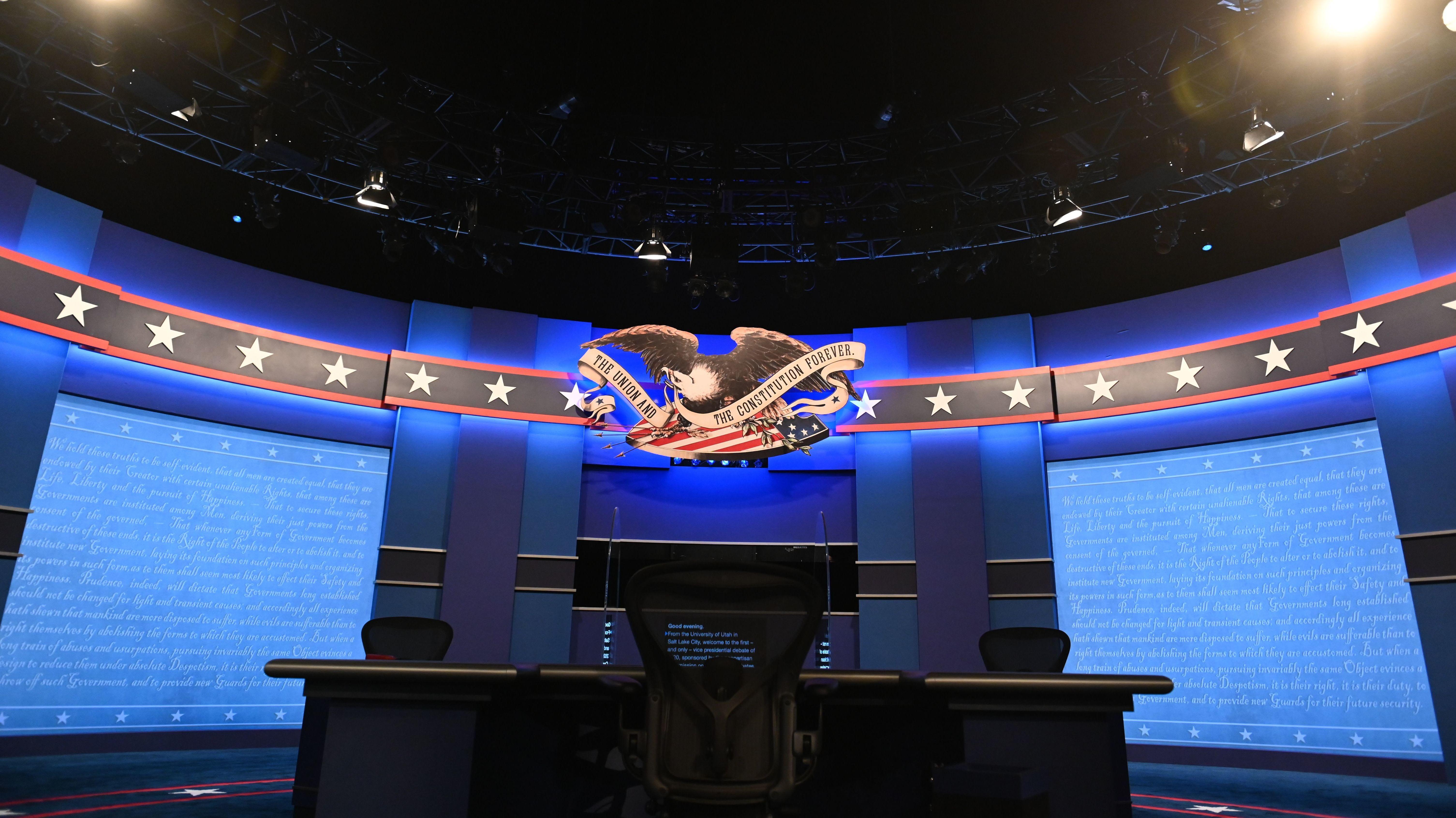 The stage of this week's vice presidential debate Salt Lake City.