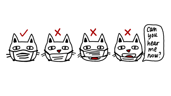 Multiple cat faces show safe and unsafe ways to wear face masks.