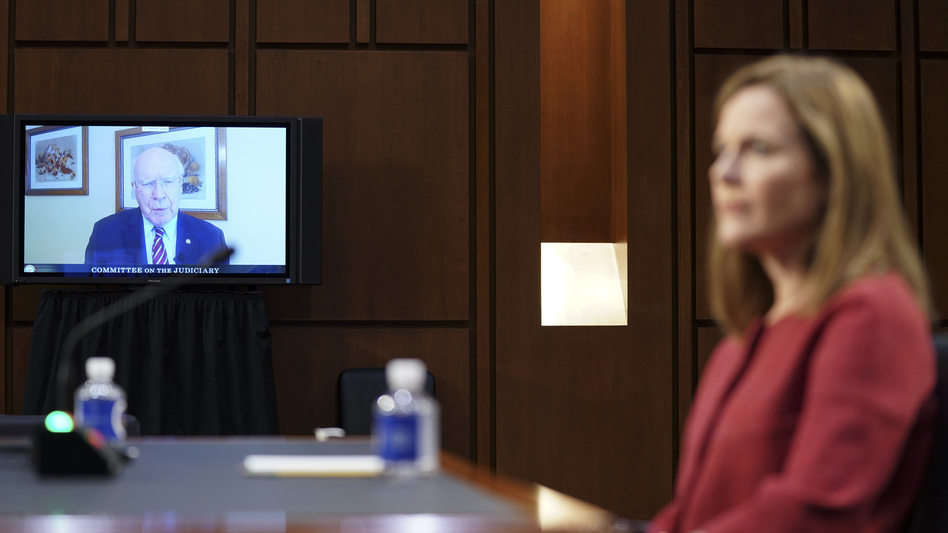 Sen. Patrick Leahy, D-Vt., speaks via videoconference during Amy Coney Barrett's Supreme Court confirmation hearing on Tuesday. (Stefani Reynolds/Pool/Getty Images)