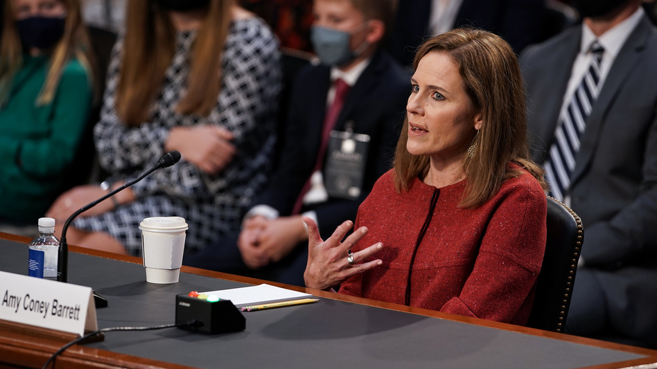 President Trump's Supreme Court nominee Judge Amy Coney Barrett testifies during the second day of her Senate Judiciary confirmation hearing on Tuesday. (Greg Nash/Pool/Getty Images)